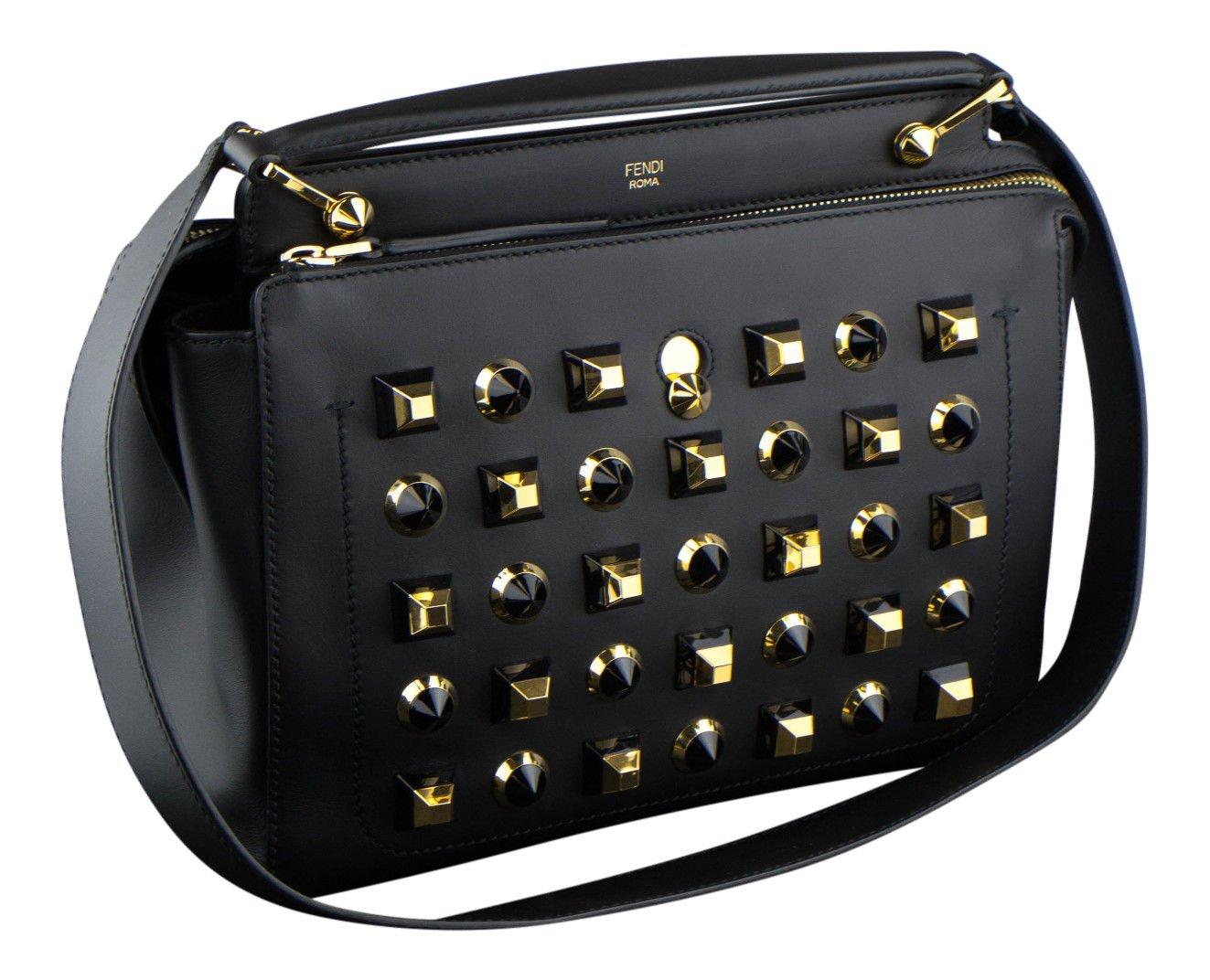 34d0ab9525b4 Amazon.com   Fendi Black and Gold Leather Dotcom Studded Satchel Bag   Baby