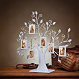 Klikel White Metal Family Tree Display Stand With 6 2x3 Hanging Photo Picture Frames