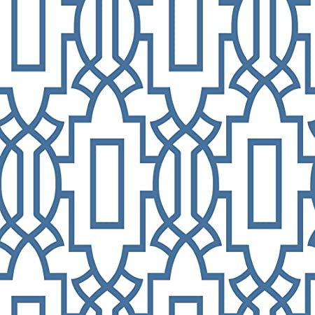 Haokhome 6103 Modern Geometric Trellis Wallpaper Royal Blueoff
