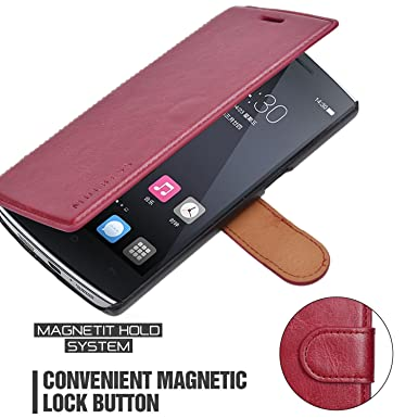 newest 8c091 5606d OnePlus One Case - Mulbess PU Leather Flip Case Cover for OnePlus One  Wallet Wine Red