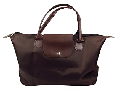 9df149f5629a BB Accessories Foldable Longchamp-Style Tote Handbag - Brown  Amazon.co.uk   Shoes   Bags