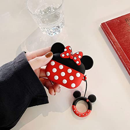 AKXOMY Cute Cartoon Minnie Mouse Airpod Pro Case Cover,Soft Silicone Shockproof Protective Cover with Ring Buckle Holder Earphone Case Cover for Air Pod 3 Pro Airpods Pro Case Airpod Pro Minnie