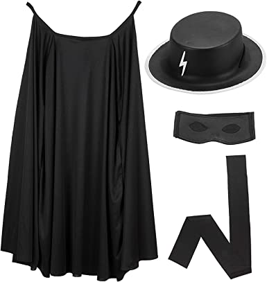 Mega_Jumble® - Disfraz de héroe Zorro Highway Man con capa negra ...