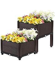 VIVOHOME Elevated Plastic Raised Garden Bed Planter Kit for Flower Vegetable Grow Brown