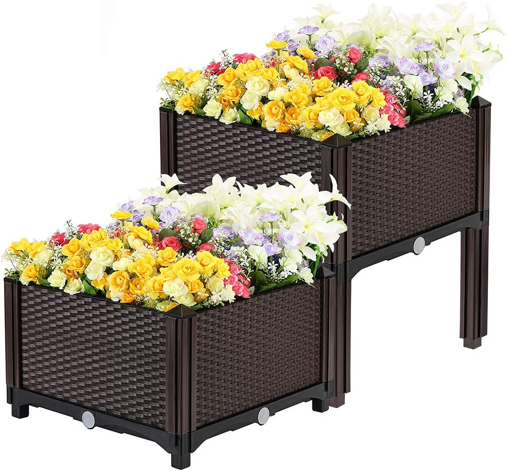 VIVOHOME Elevated Plastic Raised Garden Bed Planter Kit for Flower Vegetable Grow Brown Set of 2