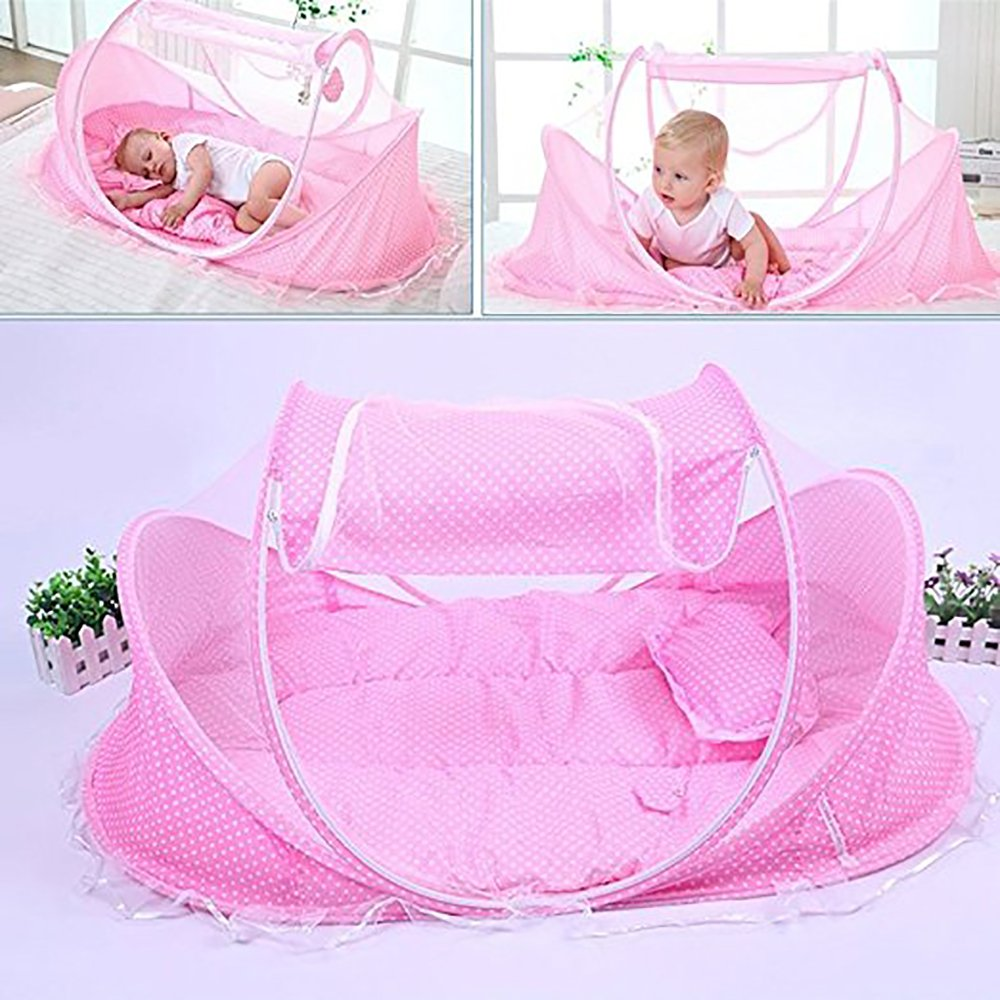 BingHang Baby Travel Bed, Infant Baby Bed Portable Mosquito Net Folding Baby Crib Netting Summer Autumn Portable Baby Cots Newborn Foldable Crib Net with Summer Sleeping Mat and Music Pack (pink)