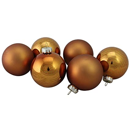 Copper Christmas Ornaments.Northlight 6 Piece Shiny And Matte Copper Glass Ball Christmas Ornament Set 3 25 80mm