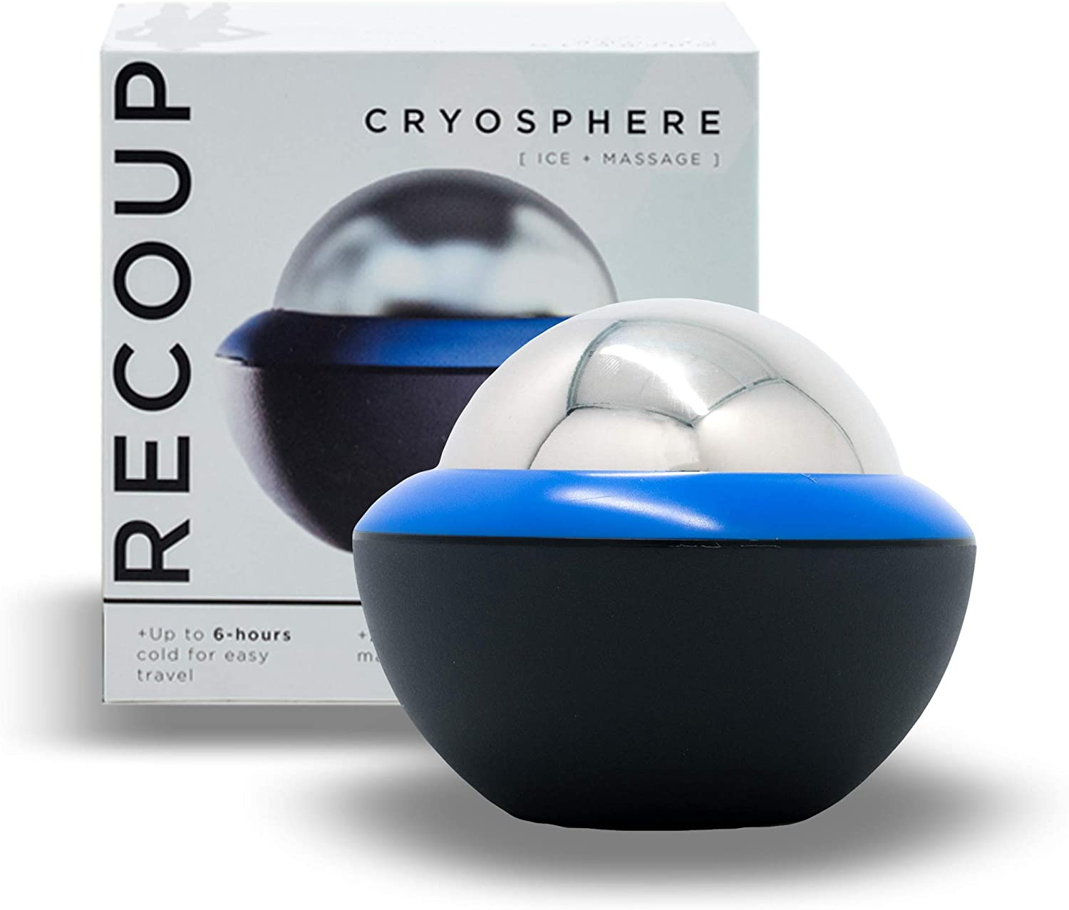 Recoup Fitness Cryosphere Cold Massage Roller - 6 Hours Cold Relief - Ice Cup - Myofascial Release- Great for Recovery - Free Rolling Removable Ball - Deep Tissue Massage - Pain Relief - Ice Pack