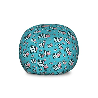 Ambesonne Cattle Storage Toy Bag Chair, Doodle Multiple Cows with Bells Continuous Pattern on Blue Background Print, Stuffed Animal Organizer Washable Bag for Kids, Large Size, Multicolor: Kitchen & Dining