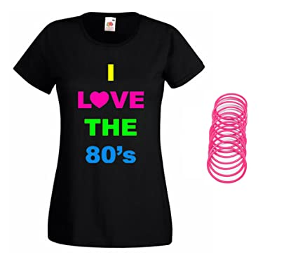 Ladies I Love the 80s T-shirt with gummy bands