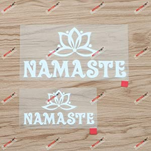 Namaste Lotus Yoga India Nepal Decal Vinyl Sticker - 2 Pack White, 4 Inches, 6 Inches - Die Cut No Background for Car Boat Laptop Style A