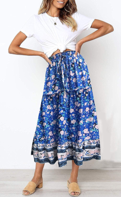 huateng Womens Flowy High Waist Pleated Skirt Bohemian Maxi Dress