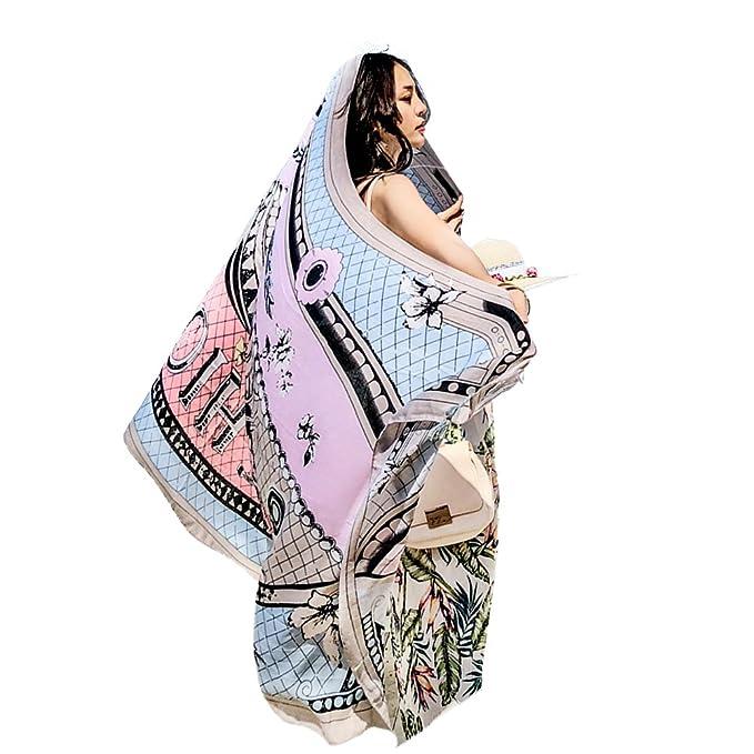 Sunroyal Bufanda de Tela de Algodón Gasa de Las Mujeres Iridiscentes Bufanda de Abrigo Suave, Chal, Ideal para ...