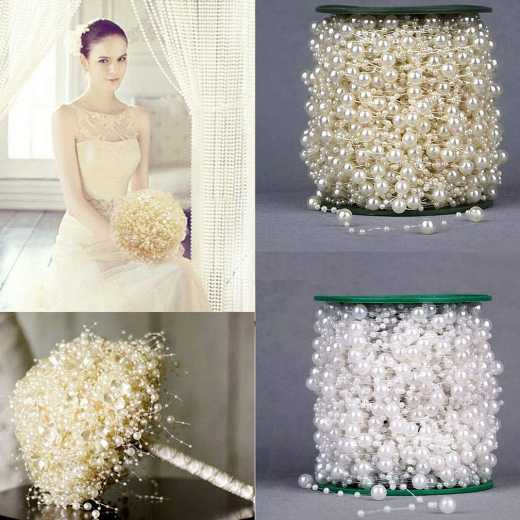 White Christmas Supplies 5M Faux Pearl Acrylic Beads Garland Rope Wedding Party Headwear Decoration for Home Party