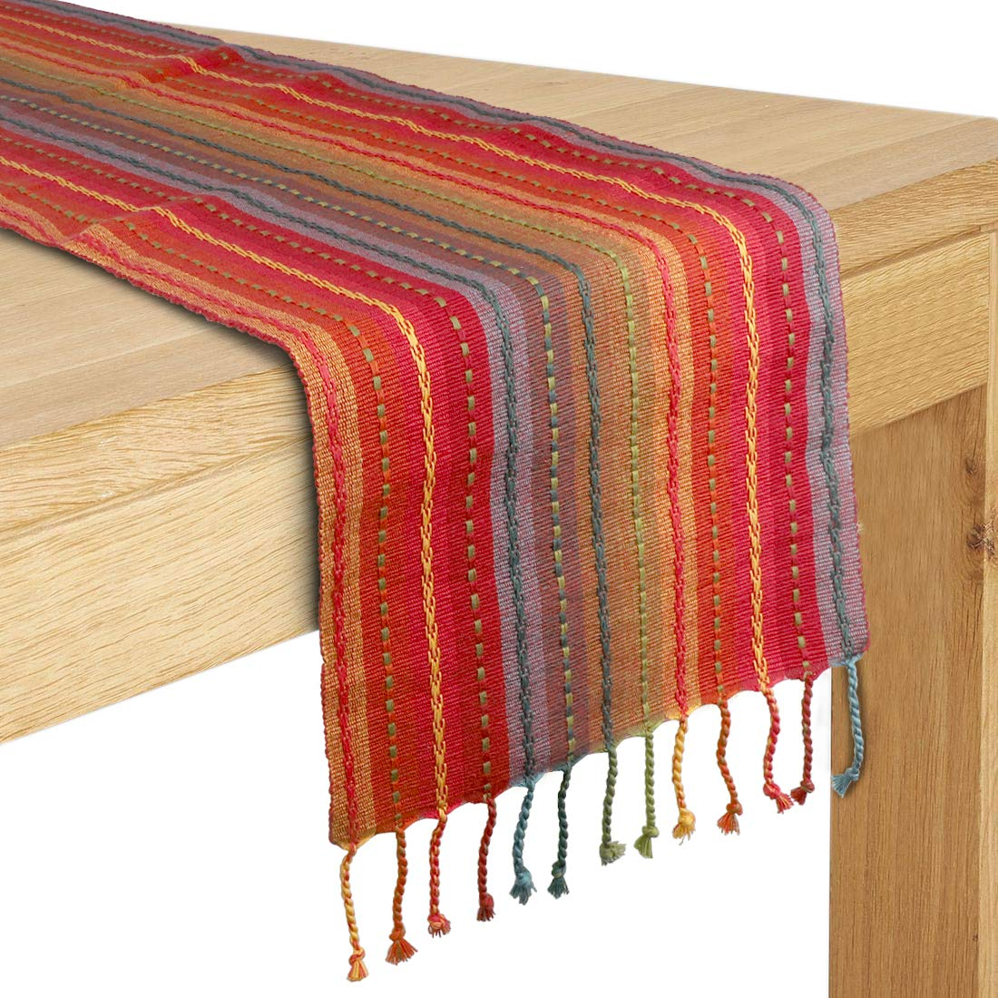 Cotton Table Runner with fringes 13x108 Perfect for all Seasons and everyday use