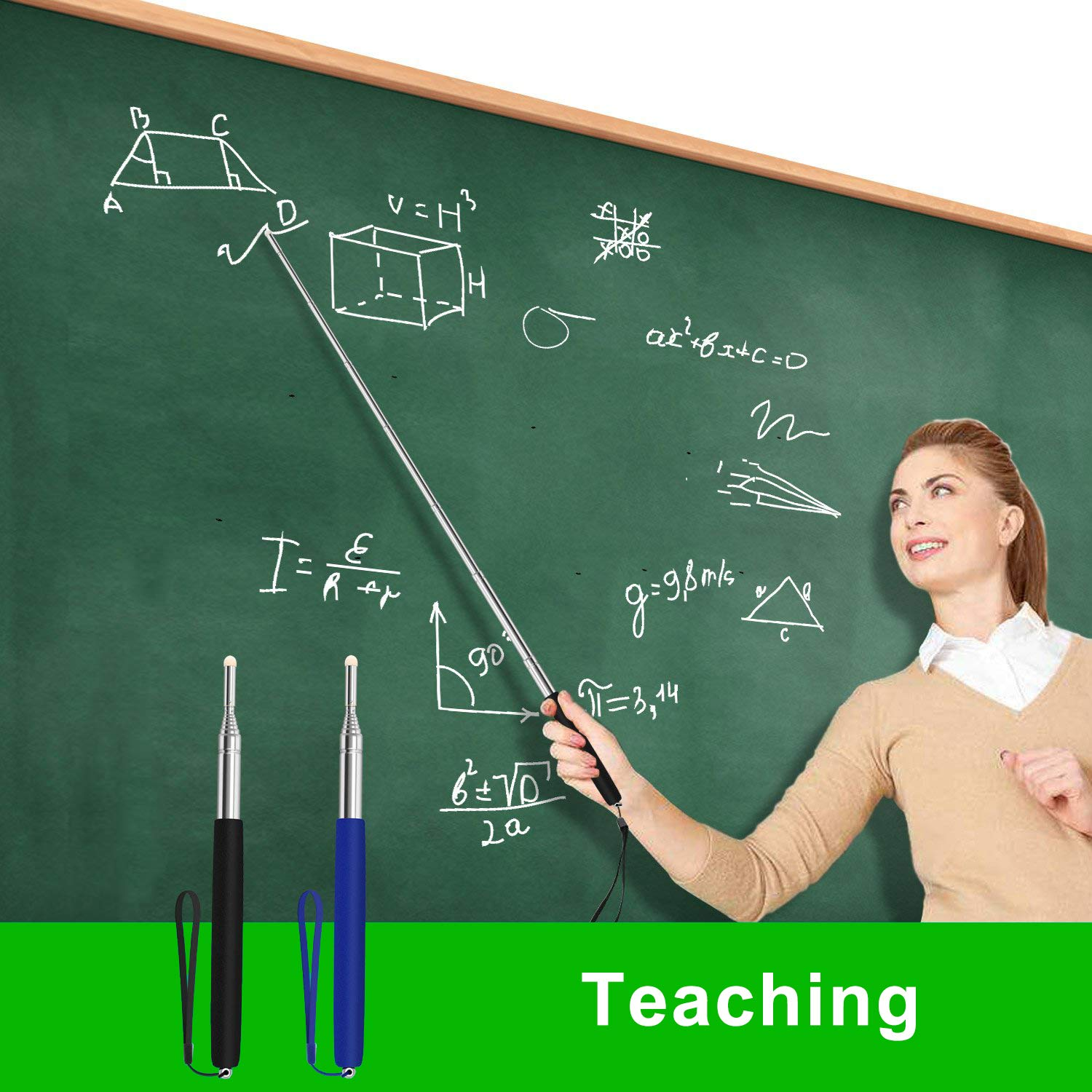 Telescoping Teachers Pointer Retractable Classroom Electronic Whiteboard Presentation Teaching Pointer Stick for Teachers Coach Presenter with A Lanyard and Felt Nib Extends to 39 inches