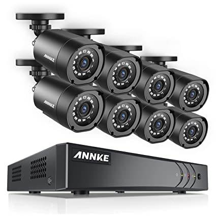 ANNKE Security Camera System 1080P Lite H 264+ 8CH Surveillance DVR and (8)  1080P HD Weatherproof Camera, Easy Remote View, Smart Playback, NO Hard