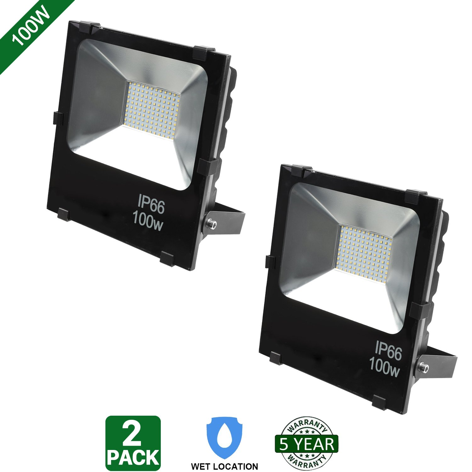 Hykolity 100W LED Flood Light Outdoor Security Light Weatherproof Parking Lot Warehouse Perimeter Lighting Fixture [400W Equivalent] High Power 10000lm 5000k Residential/Commercial Use-Pack of 2