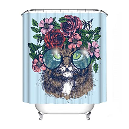 FANNEE Kitten Shower Curtain With Flowers On The Head 60quot X 72quot