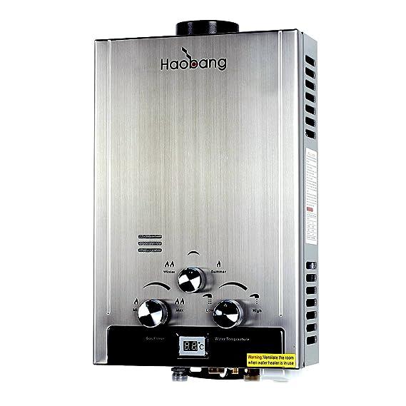 Haobang Sin tanque calentador de agua Gas instantáneo JSD12-S01 6L / Min 12KW (LPG) propano o butano: Amazon.es: Bricolaje y herramientas