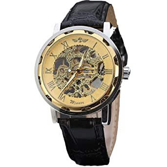 joyliveCY Pu Leather Band Hand-Winding Mechanical Skeleton Watch Fashion Gear Wrist Watch Reloj Army