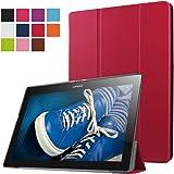ERLI Lenovo Tab 2 X30F A10-30 Funda, Ultra delgado Smart Funda Carcasa con Stand Función y Auto-Sueño/Estela para Lenovo Tab 2 X30F A10-30 Android Tablet pulgadas (Rojo)