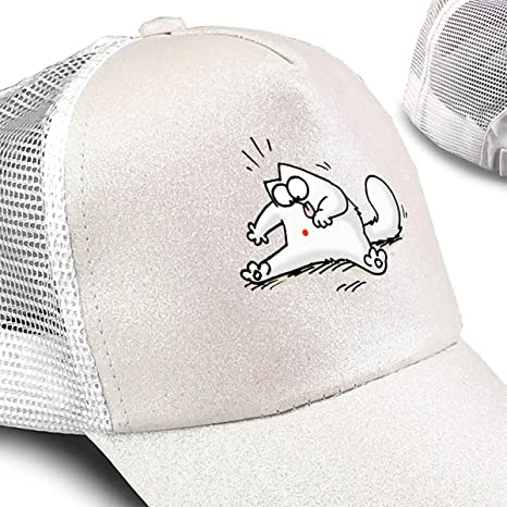 Simon/_Cat Play Baseball Ponytail Messy High Bun Hat Ponycaps Baseball Cap Adjustable Trucker Cap Mesh Cap