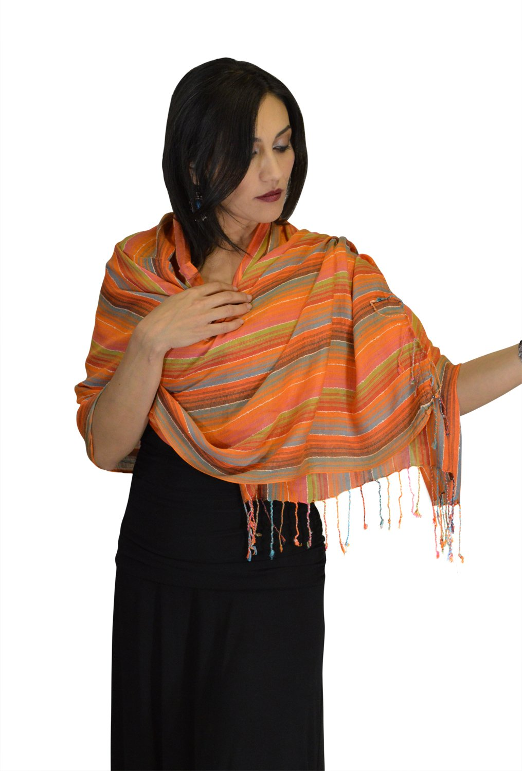 Moroccan Shoulder Shawl Breathable Oblong Head Scarf cotton Exquisite Wrap by Treasures of Morocco Shawls (Image #2)