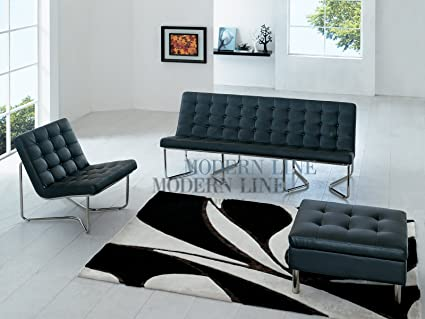 Amazing Amazon Com Modern Black Leather Sofa Chairs And Ottoman Frankydiablos Diy Chair Ideas Frankydiabloscom