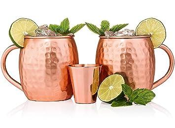 Moscow Mule tazas de cobre juego de 2 hecho a mano de cobre macizo - cobre tazas para Moscú Mule cóctel - 16 oz - vasos de chupito incluido: Amazon.es: ...