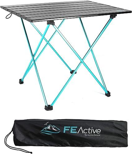 FE Actice Mesa Plegable Compacta - En Aluminio, Diseñada como una Mesa de Camping Portátil Ultraligera para Playa, Senderismo, Camping, Deportes, ...