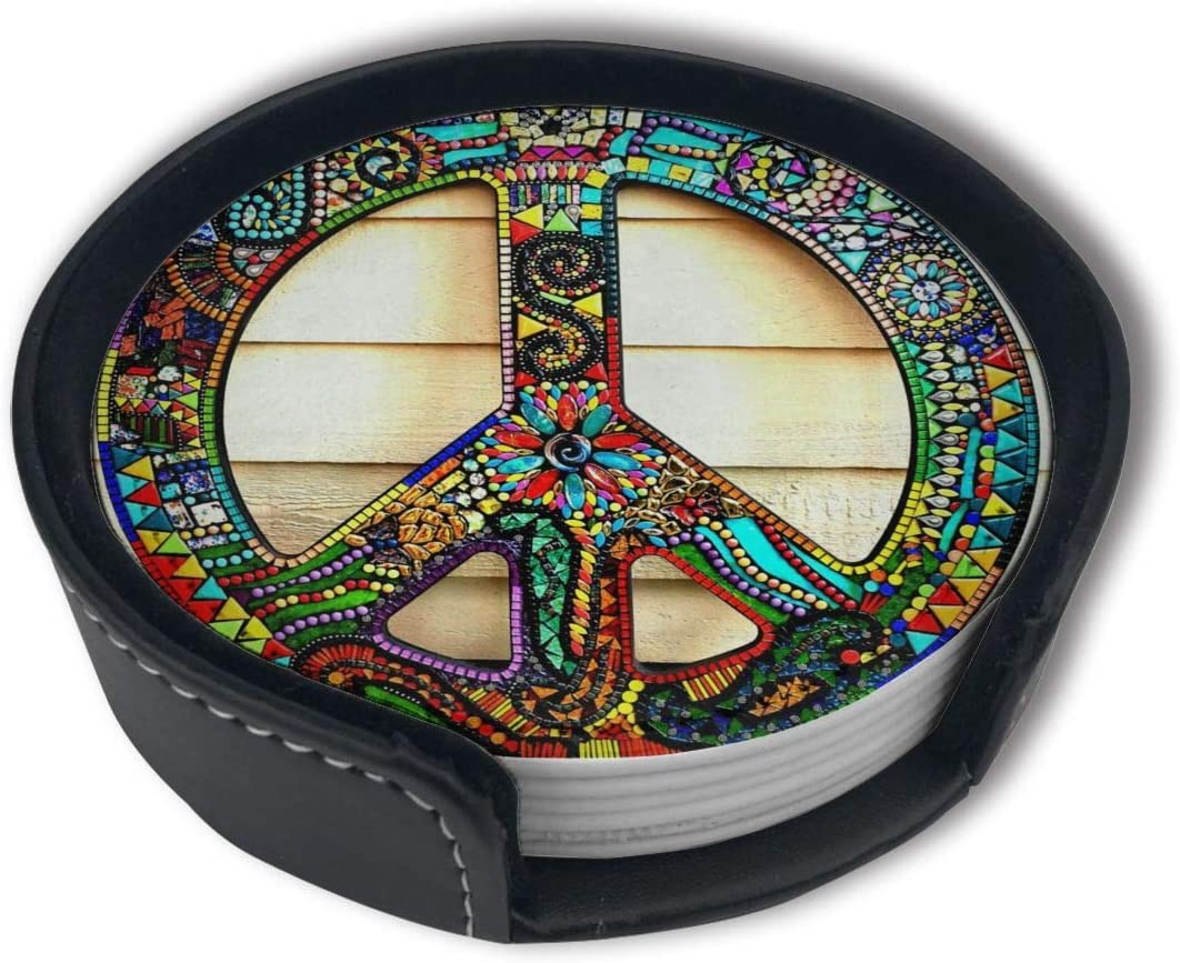 HBLSHISHUAIGE High Custom Mosaic Peace Sign Coasters with Holder Set,Round Mugs and Cups Mat Pad for Drinks,Suitable for Home and Kitchen(6PCS)