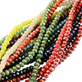 Pandahall 1500PCS Perline Perle Perline Colorate Giada Imitazione Sfaccettate Placcate, Abaco, AB Colore Misto, 3.5~4x2.5~3mm; Foro: 0.5mm, circa 150pcs/ filo, 10 fili