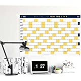 "BestSelf Co. Matte Finish Wall Calendar 2017, Yearly Layout 24"" x 36"" Dual Orientation, Plan The Year With A Single Glance, Goal Setting, Habit Tracking, & Planning"