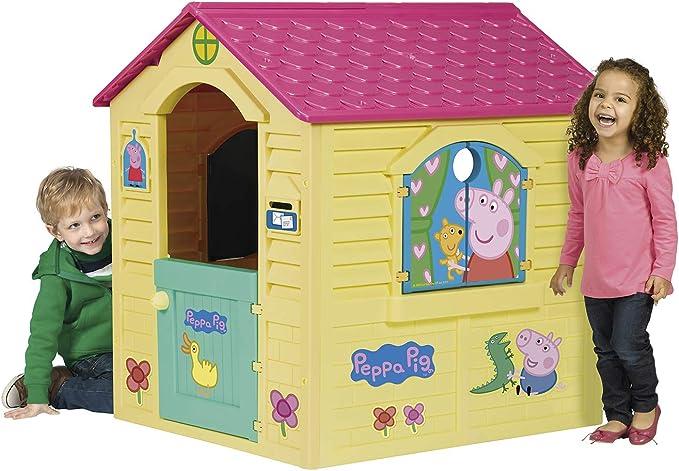 Chicos Peppa Pig Casita Infantil de Exterior, Color Amarilla con tejado Rosa (La Fábrica de Juguetes 89503): Amazon.es: Juguetes y juegos