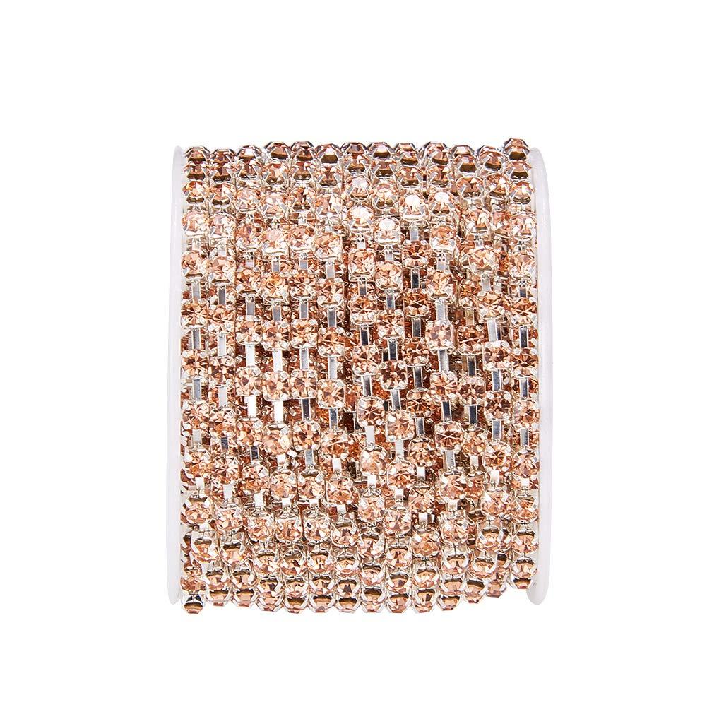 BENECREAT 9.14m di Cristallo del Rhinestone Chiudere la Catena Chiara di Taglio Artiglio Catena Artigianale Circa 1440pcs Strass Fondo Argento 3mm Rosso