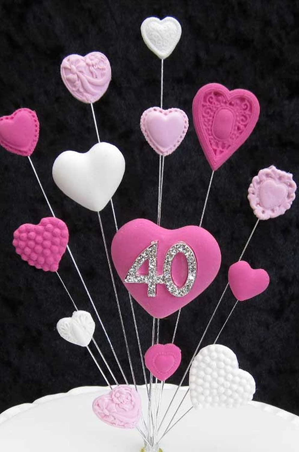 40th Birthday Cake Topper Pinks And White Hearts Suitable For A