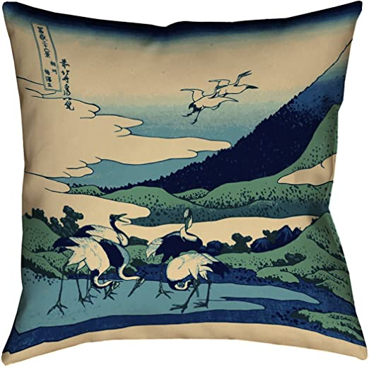 ArtVerse Katelyn Smith 16 x 16 Spun Polyester Double Sided Print with Concealed Zipper /& Insert Rustic Blue Whale in Turquoise Pillow