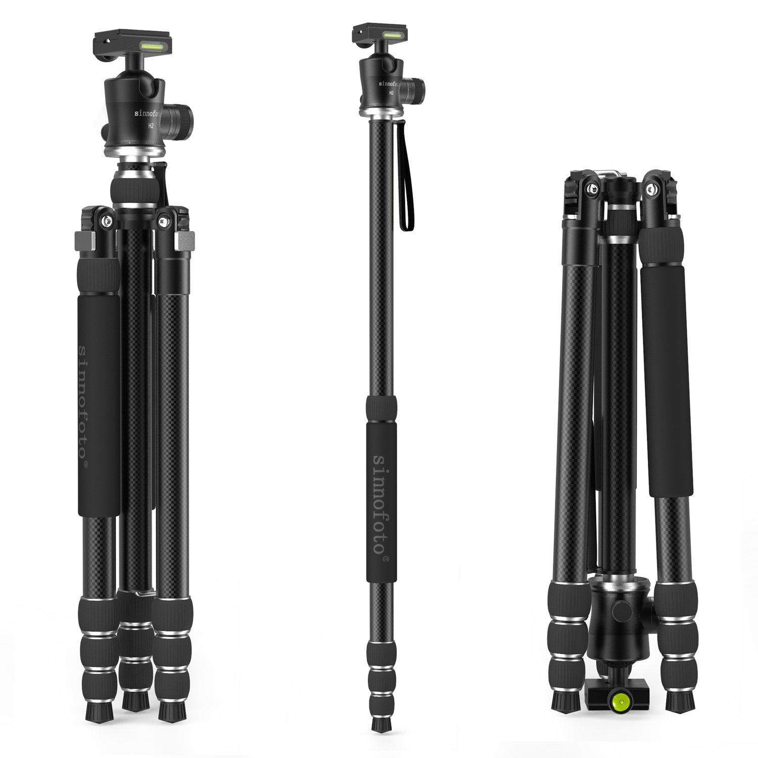 """Sinnofoto T8H2 71"""" Max loading 20kg 70% Carbon Fiber Portable Travel Camera Tripod Lightweight with 360 Degree Tripod Ball Head Compact With DSRL Camera 71"""" Tripod with Nice Travel Bag"""