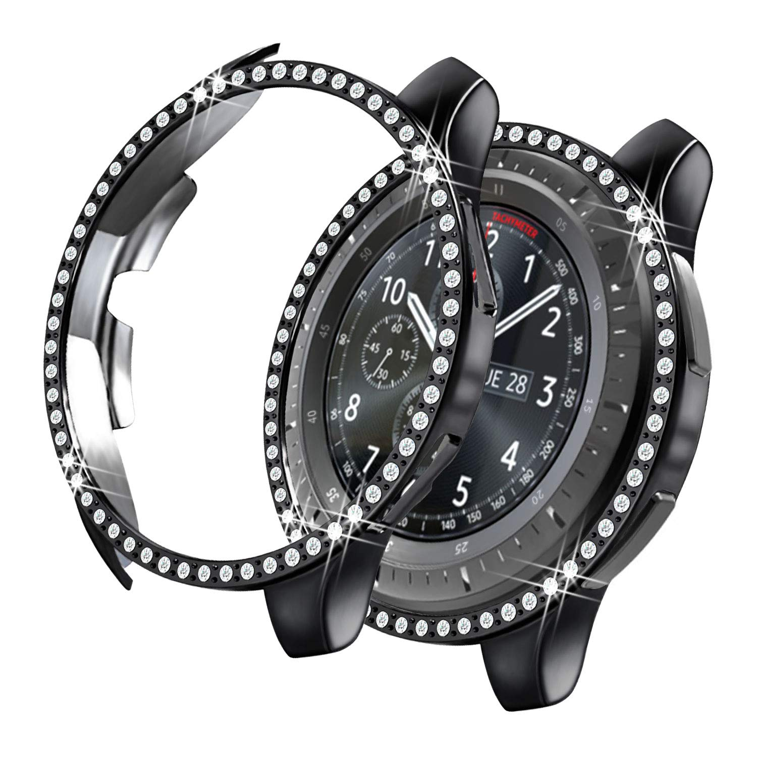 Yolovie Compatible with Samsung Galaxy Watch 46mm 42mm Case, Gear S3 Frontier Case Bling Crystal Rhinestone Bumper Shell Plated PC Protective Face ...