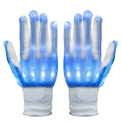 Vbiger LED Gloves Knit Gloves Party Light Show Gloves Finger Lights Toys Christmas Gift for Men Women