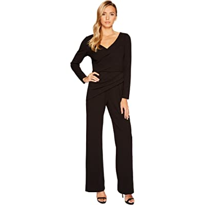 Adrianna Papell Long Sleeve Crepe Knit V-Neck Jumpsuit Black 16: Clothing