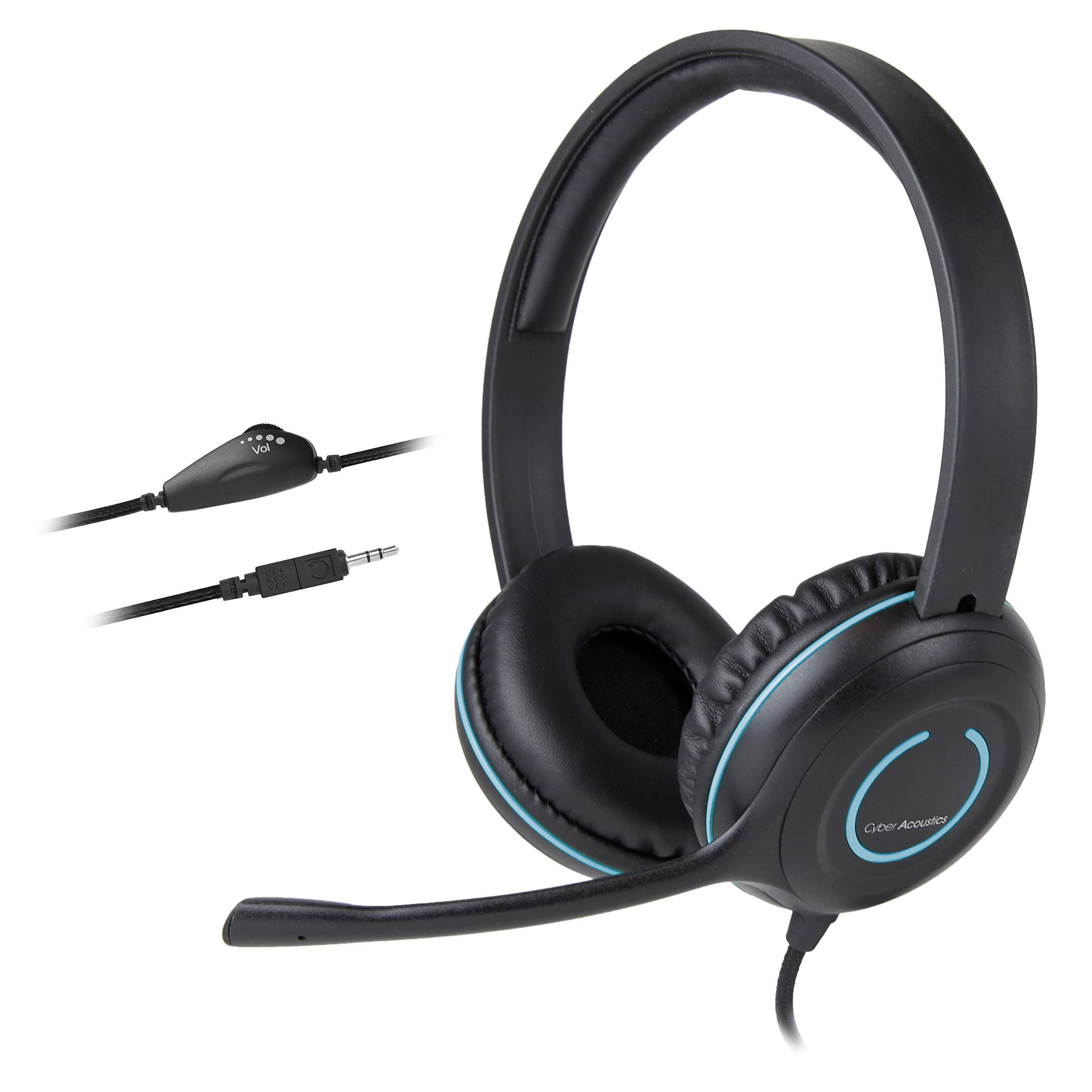 Cyber Acoustics 3.5mm Stereo Headset with Headphones and Noise Cancelling Microphone for PCs, Tablets, and Cell Phones in The Office, Classroom or Home (AC-5002) by Cyber Acoustics