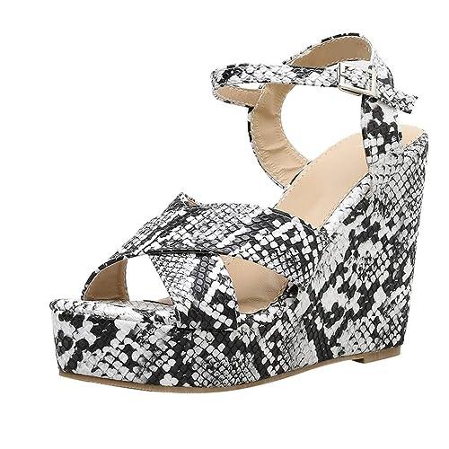 69a1f172 Sandalias de Serpiente Plataforma para Mujer, Mujeres Romanas Sandalias de  tacón Zapatos Elegante Fiesta Sandalias Vestir Novia Boda Chancletas:  Amazon.es: ...