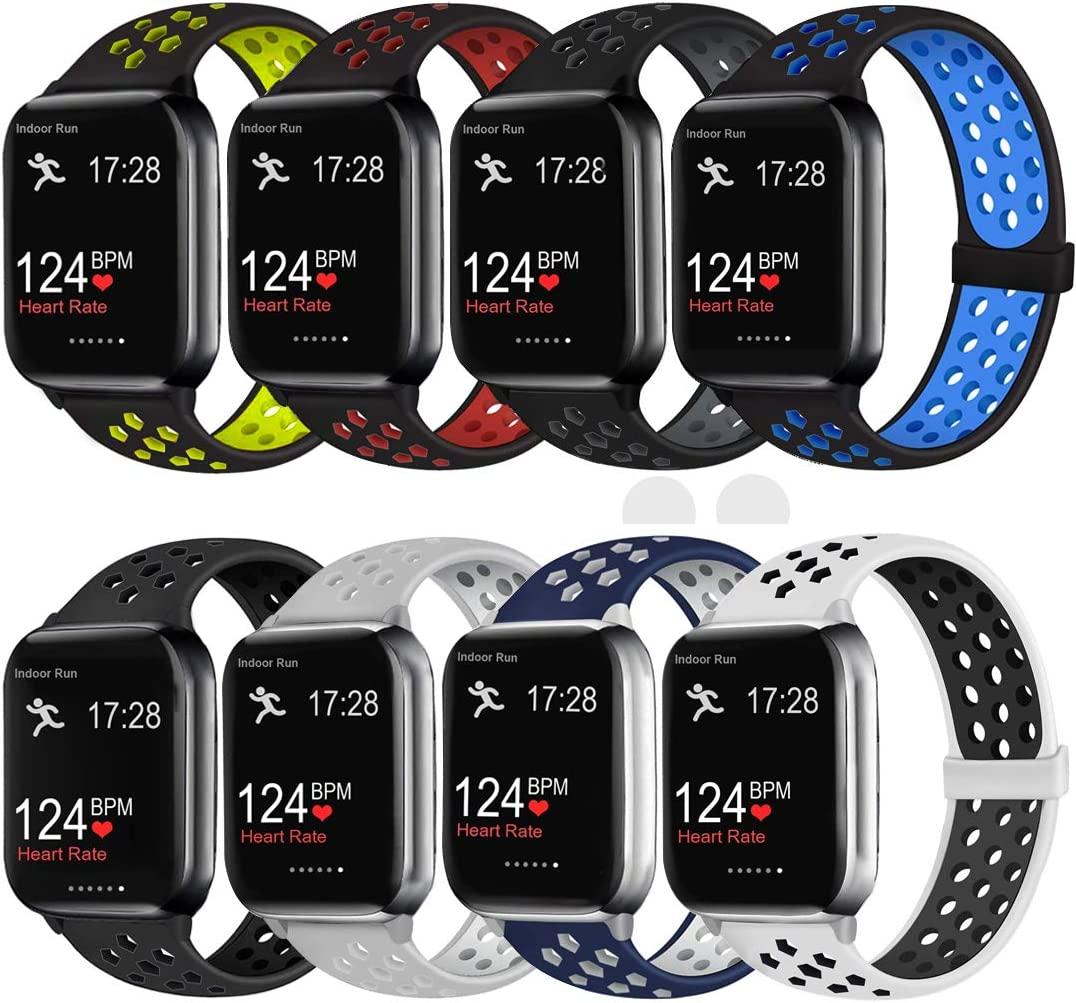 ElaikementSport Band Compatible with Watch Bands 38mm 40mm Women Men, Breathable Sporty Replacement Wrist Strap Compatible for Watch Series 5/4/3/2/1 All Various Styles, 38/40mm M/L -8PACK