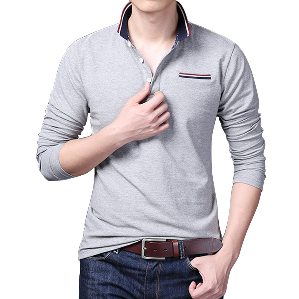 Wishere Mens Polo Shirt Perfect Slim Fit Long Sleeve T Shirt Soft