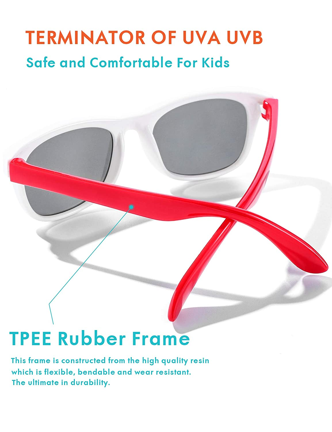 Age 2-8 Flexible Kids Sunglasses Polarized Baby Boys and Girls UV Protection with Case