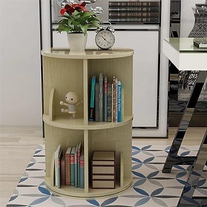 JXBOOS Revolving BookshelfModern Minimalist Storage Rack Children Students Desk Bookcase Floor Standing Simple