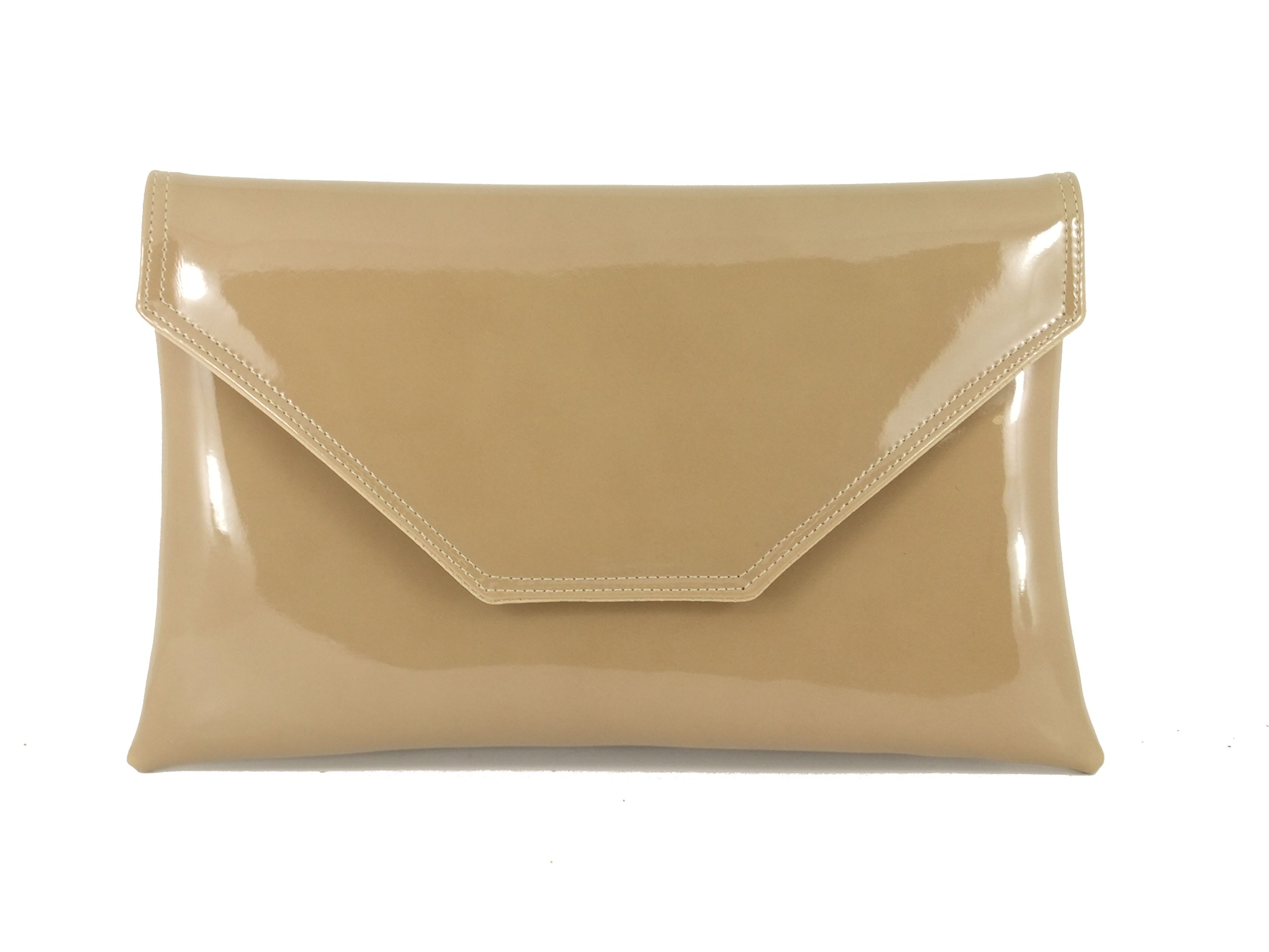 Loni Womens Stylish Large Envelope Patent Clutch Bag Shoulder Bag Wedding  Party Prom Bag efbabd0322b5a