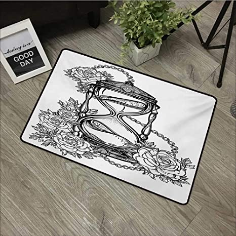 1b2e911ef Anzhutwelve Tattoo,Indoor Floor Mats Pencil Drawing Romantic Theme  Hourglass Symbol of Eternal Love with